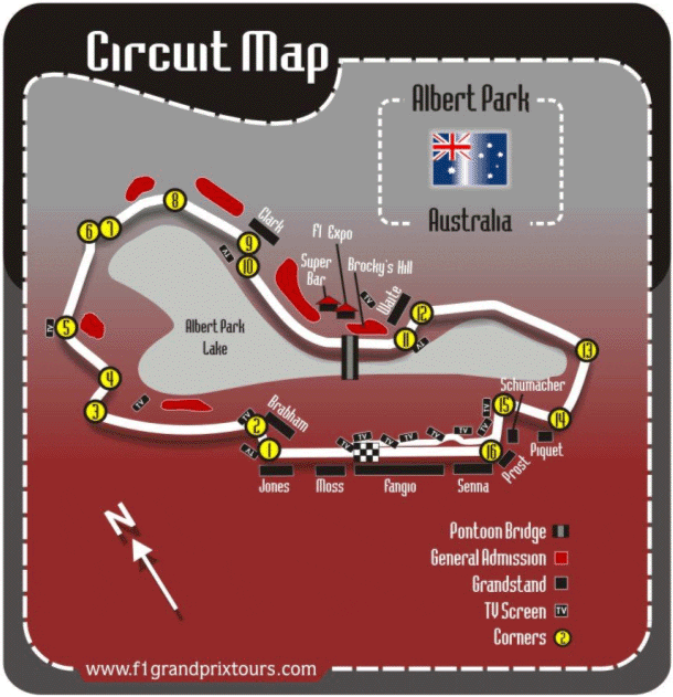 Australian F1 Circuit and Grandstand Map
