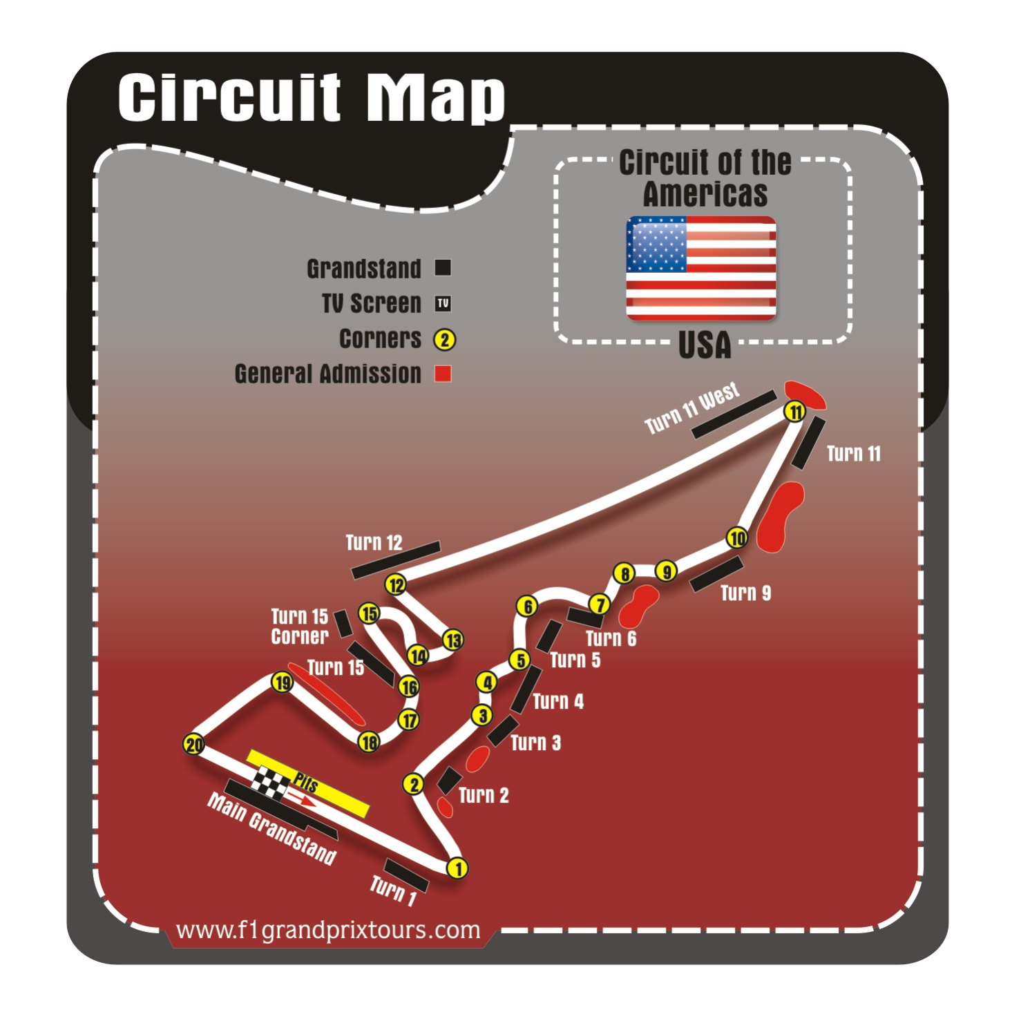 USA F1 Circuit and Grandstand map