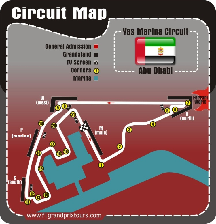 Abu Dhabi F1 Circuit and grandstands Map