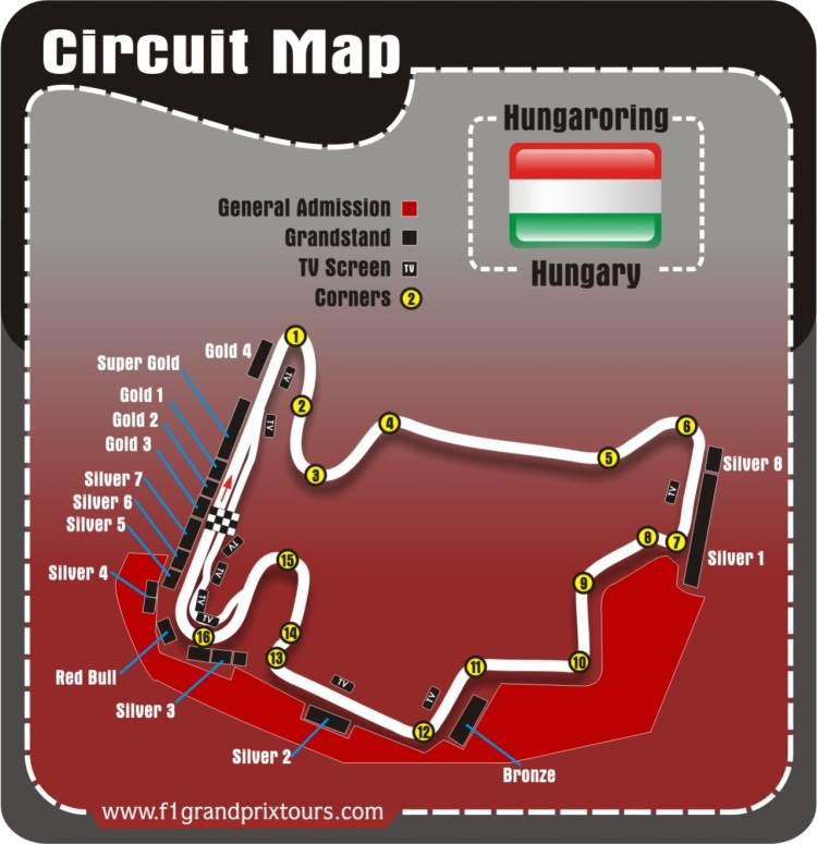 Hunagry F1 Circuit and grandstand Map