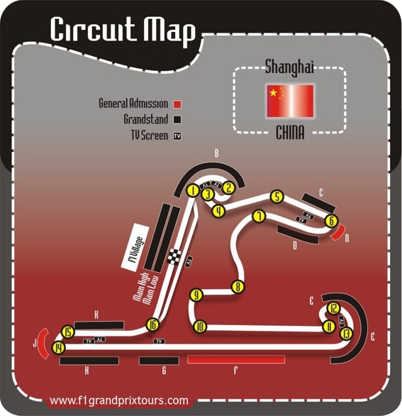 Chinese F1 Circuit and Grandstand Map