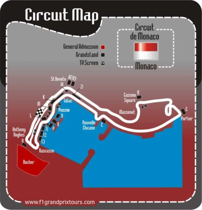Monaco F1 circuit and grandstand map.